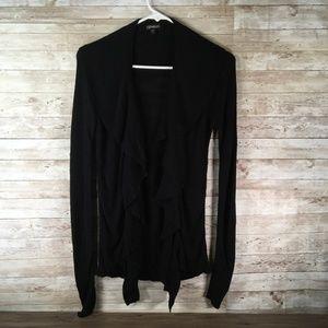 Express Black Cardigan Sweater Ruffle Bow